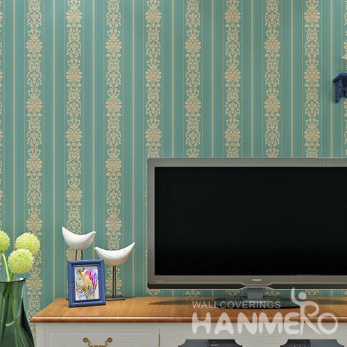 HANMERO Embossed European Floral Green PVC Wallpaper For Home Interior Decoration