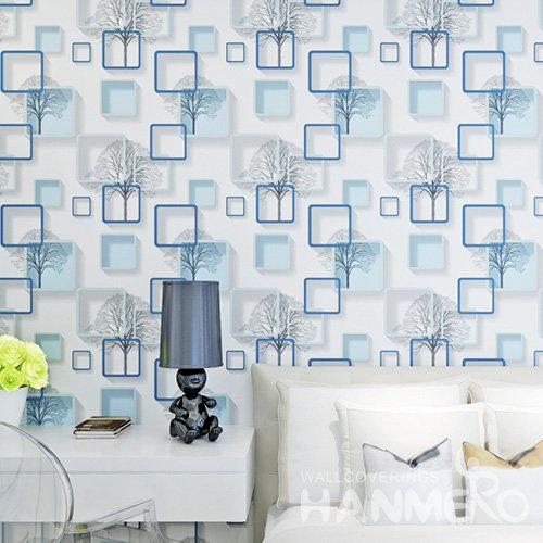 HANMERO Embossed Modern 3D Geometric White And Blue PVC Wallpaper For Home Interior Decoration
