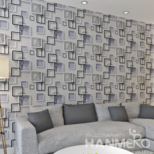 HANMERO Embossed Modern 3D Geometric White And Black PVC Wallpaper For Home Interior Decoration