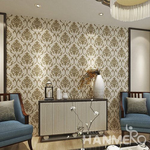 HANMERO Embossed European Floral Green Coffee PVC Wallpaper For Home Interior Decoration