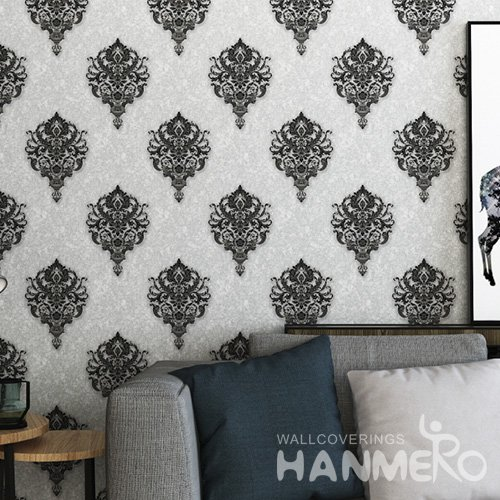 HANMERO Black European Home 1.06m Wide PVC Floral Wallpaper Manufacturer