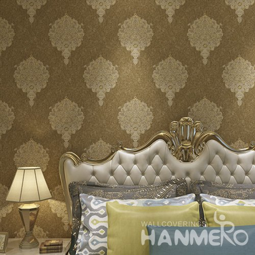 HANMERO New Eco-friendly Brown European Floral 1.06*15.6m Vinyl Wallpaper Supplier