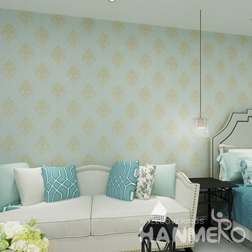 HANMERO SGS Light Blue European Durable 1.06m PVC Wallpaper From China For Interior Home