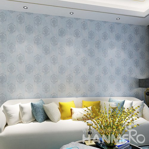 HANMERO Blue 1.06*15M Embossed Bed Room PVC Wallpaper Dealer