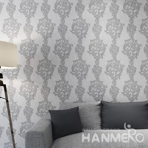 HANMERO Grey 1.06m European Embossed Living Room PVC Wallpaper With Flowers