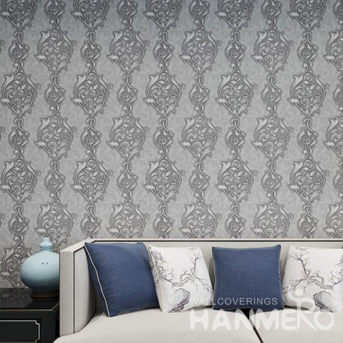 HANMERO Black 1.06*15M Embossed Low Flammability Floral PVC Interior Wallpaper