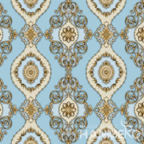 HANMERO Blue Floral Interior Home PVC 1.06M European Wallpaper Made In China