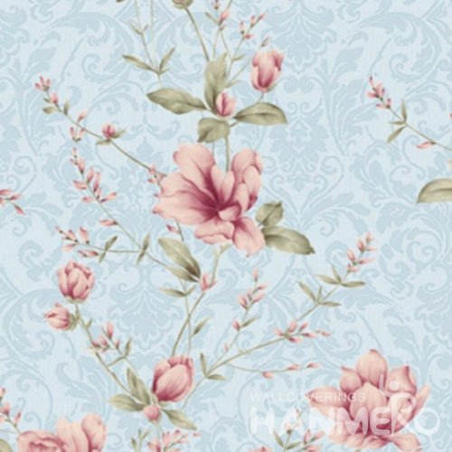 HANMERO Blue And Pink Pastoral 1.06m PVC Embossed Wallpaper With Flowers Seller